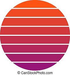 sunset retro 90-s circle