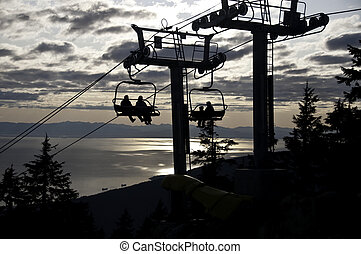 Sunset ride on the chairlift