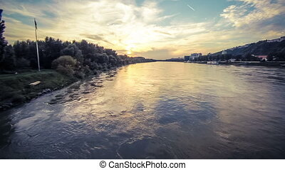 Sunset river aerial footage - Aerial drone footage