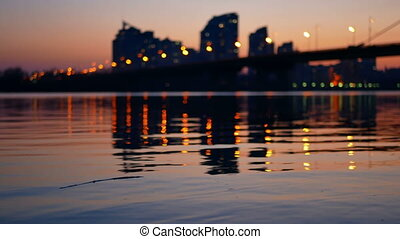 Sunset river bridge city