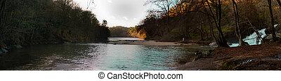 sunset river panorama