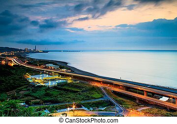 Sunset road on the coast of the west Taiwan