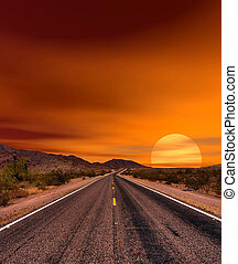 Sunset Road - Sunset road Sonora desert and mountains ...