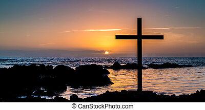 Sunset Rocks Cross