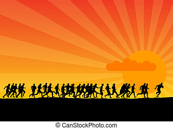 sunset running - Black silhouettes of runners on the sunset