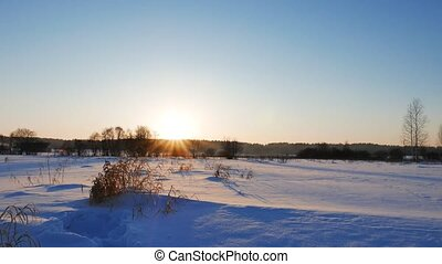 sunset., russie, paysage, hiver