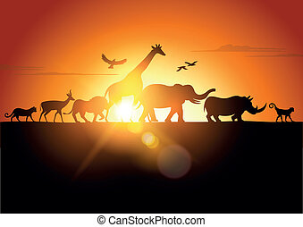 Sunset Safari - Wildlife silhouetted against a sunset -...
