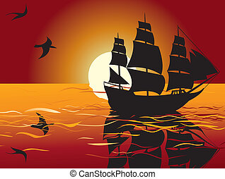 sunset. sailing vessel