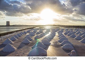 Sunset salt marsh - Salt marsh at sunset in Nubia, Sicily