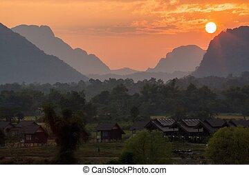 Sunset scene in Vang Vieng.