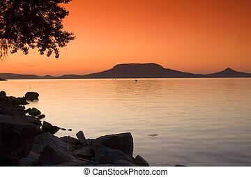 Sunset scene- lake Balaton-Hungary