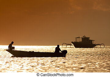 Sunset scene of fisherman boat