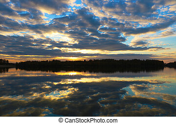 Sunset scene over lake water surface. Background