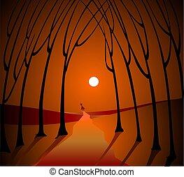sunset scenery - Digital painting of sunset scenery
