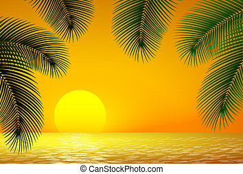 Sunset, sea and palm branch.