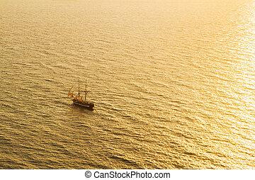 Sunset sea and ship