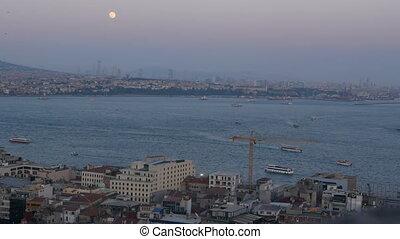 Sunset sea ship city - Harbor city skyscrapers sea cityscape...