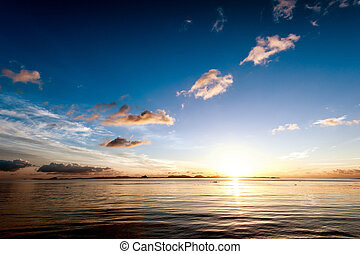 Sunset sea sky summer landscape