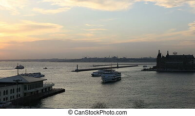 sunset sea traffic time lapse - kadikoy and haydarpasha dock...