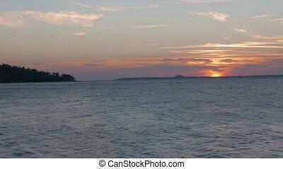 Sunset seascape. 4k