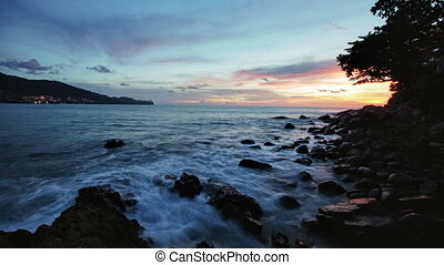 Sunset seascape - fantastic waves