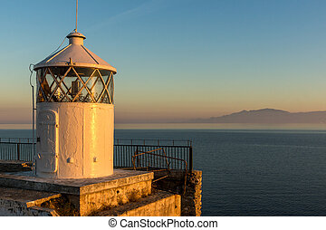 Sunset seascape of Lighthouse in Kavala, East Macedonia and Thrace