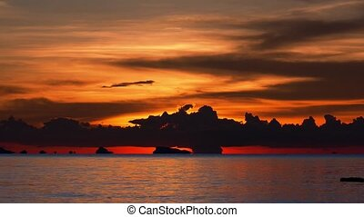 Sunset. Seascape. Thailand. High-Speed Filming.
