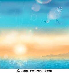 Sunset Seaside Background