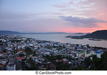 Sunset seaside city at Songkha, thailand