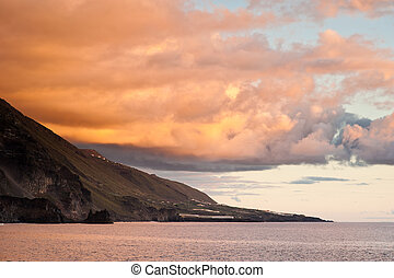 sunset seen from El Remo, La Palma, canary islands, spain