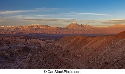 Sunset shadow over mars valley and Licancabur volcano in...