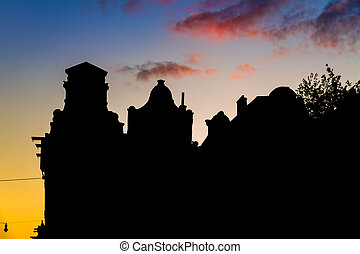 Sunset silhouette canal houses - Beautiful silhouettes of...