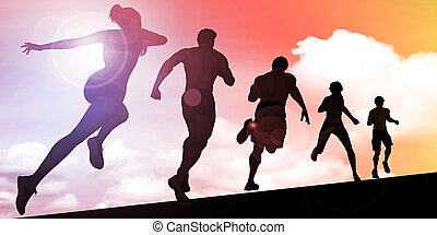 Sunset Silhouette of Man Running Uphill - Sunset Silhouette ...