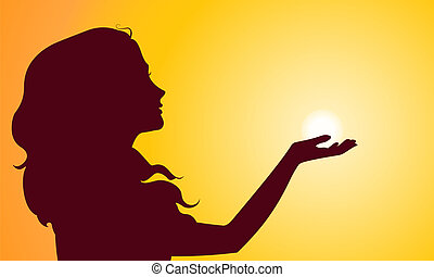 Sunset silhouette of woman