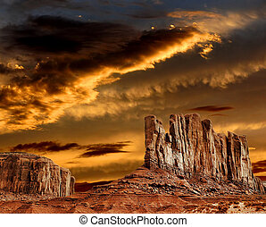 Sunset Skies Monument Valley - Monument Valley Arizona with...