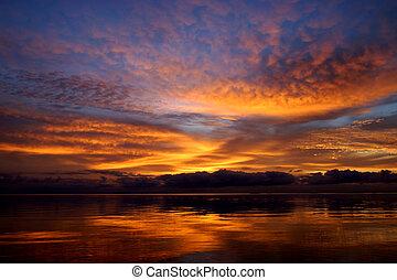 Sunset sky and lake