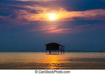 Sunset sky at the lake