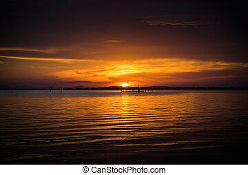Sunset sky at the lake.