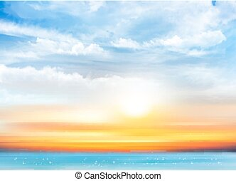 Sunset sky background with transparent clouds and sea. Vector illustration