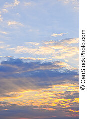 Sunset sky - Blue sky at sunset with sunbeams and bright...