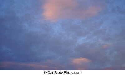 Sunset Sky Cloud Moving Pink Hue Fast Motion - Clouds move...