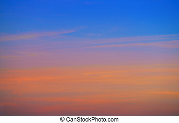 Sunset sky clouds orange and blue