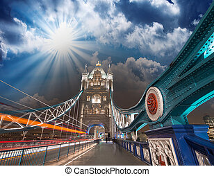 Sunset sky colors over Tower Bridge in London