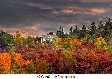 Sunset Sky over Farm House in Rural Oregon