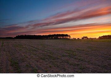 Sunset sky over field