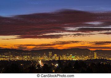 Sunset Sky over Portland Oregon City Skyline