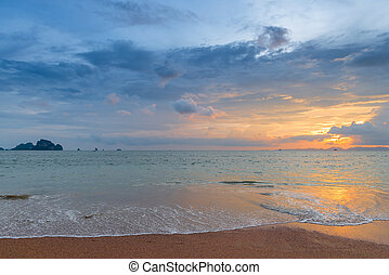 sunset sky over the sea surface in Thailand