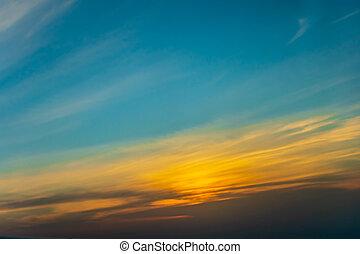 Sunset sky panoramic photo cloud background