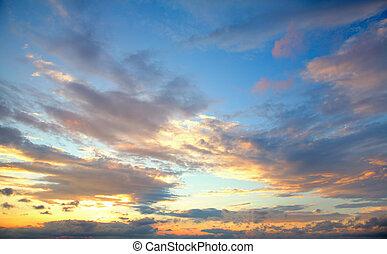 sunset sky - beautiful sunset sky with clouds