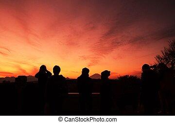 Mt.Fuji silhouette of the setting sun